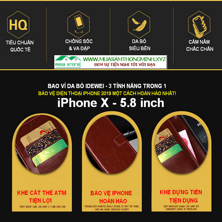Bao Da Điện Thoại iPhone X – 5.8 inch – Da Bò Xịn – Chính Hãng IDEWEI