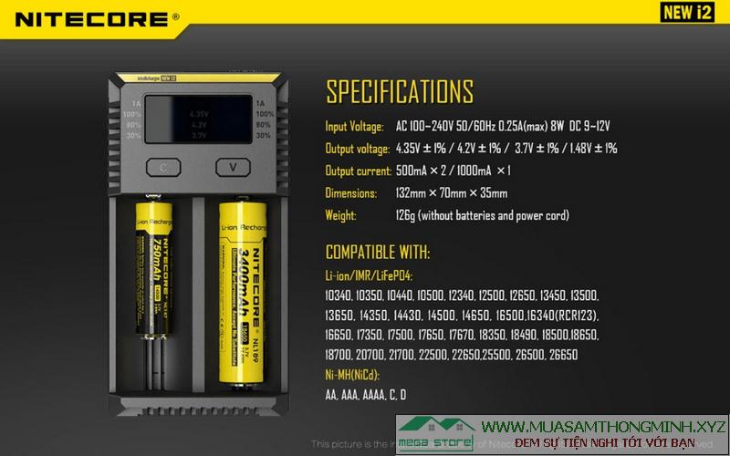 Sạc Pin đa năng Nitecore New i2 - Chính hãng xịn, thế hệ mới dùng để sạc nhiều loại Pin