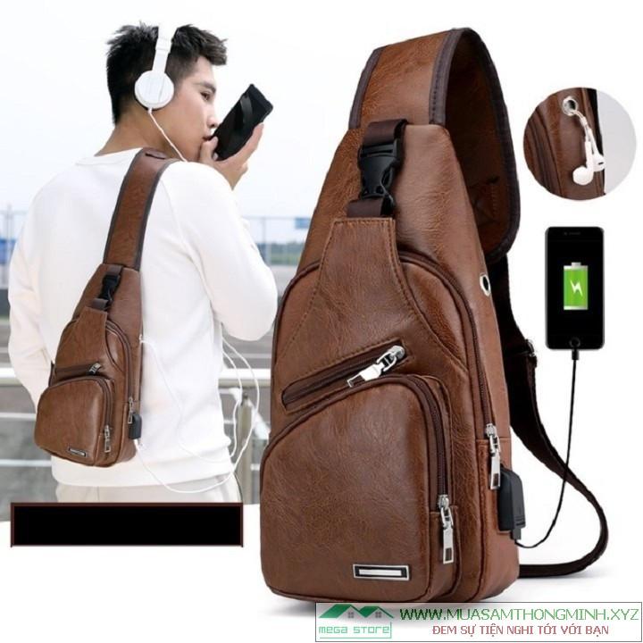 Túi da đeo chéo thời trang Hàn Quốc, Tích hợp cổng sạc điện thoại USB