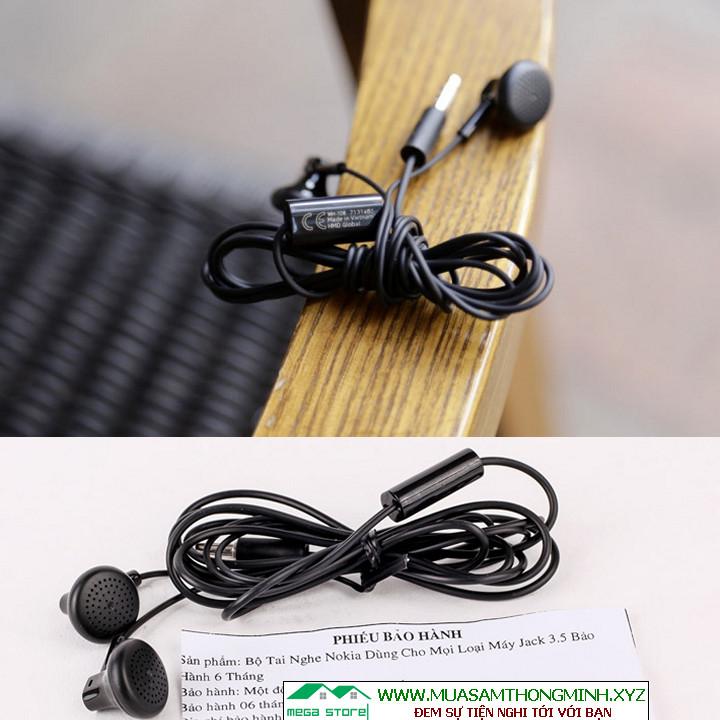 Tai nghe siêu bass  Tai nghe Nokia WH-108 xịn chính hãng   Tai nghe Nokia nhét tai jack 3,5mm