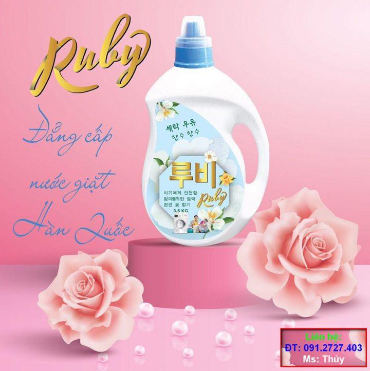 Nước Giặt Ruby Nhập Khẩu Chính hãng Ruby Electronics Hàn Quốc - Trắng Sáng, Thơm Lâu Cả Ngày