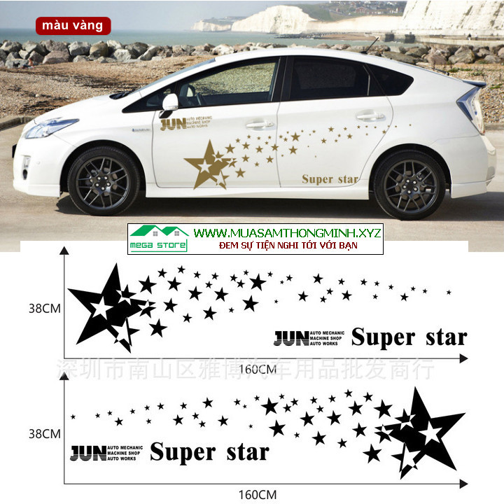 Bộ tem decan ngôi sao dán trang trí thân xe ô tô (mã D-27)