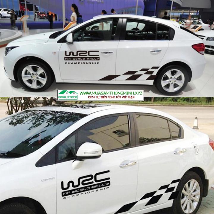 Bộ tem lưới mắt cáo trang trí 2 bên thân xe ô tô (mã D-149)