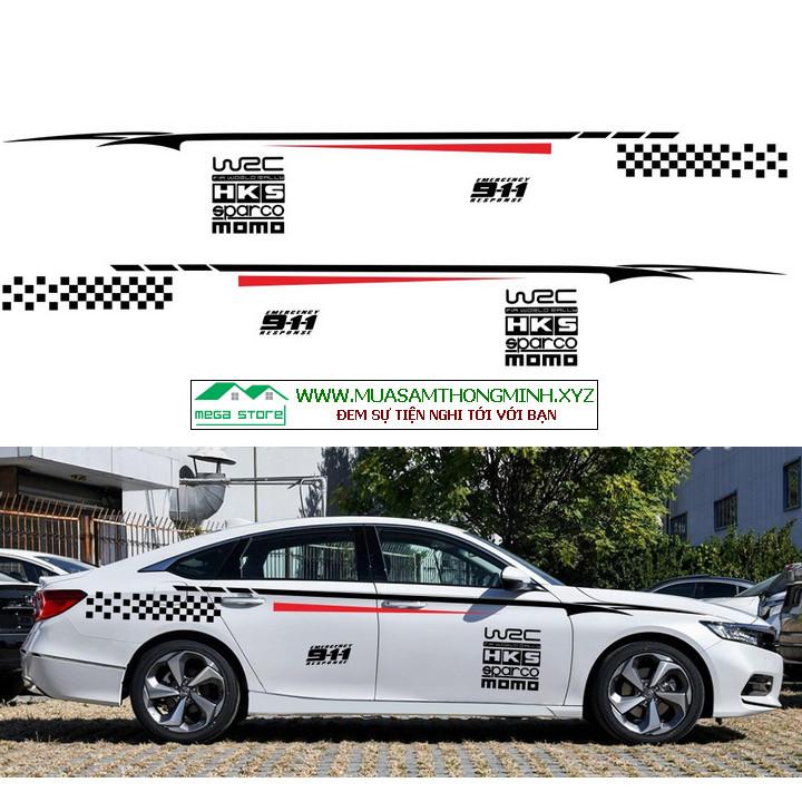 Bộ tem trang trí 2 bên thân xe ô tô HKS cực đẹp (mã D-127)