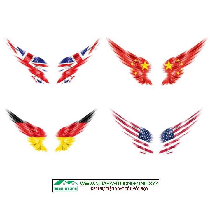 Decan lá cờ Mỹ, Anh, Đức, TQ phản quang dán gương chiếu hậu xe hơi