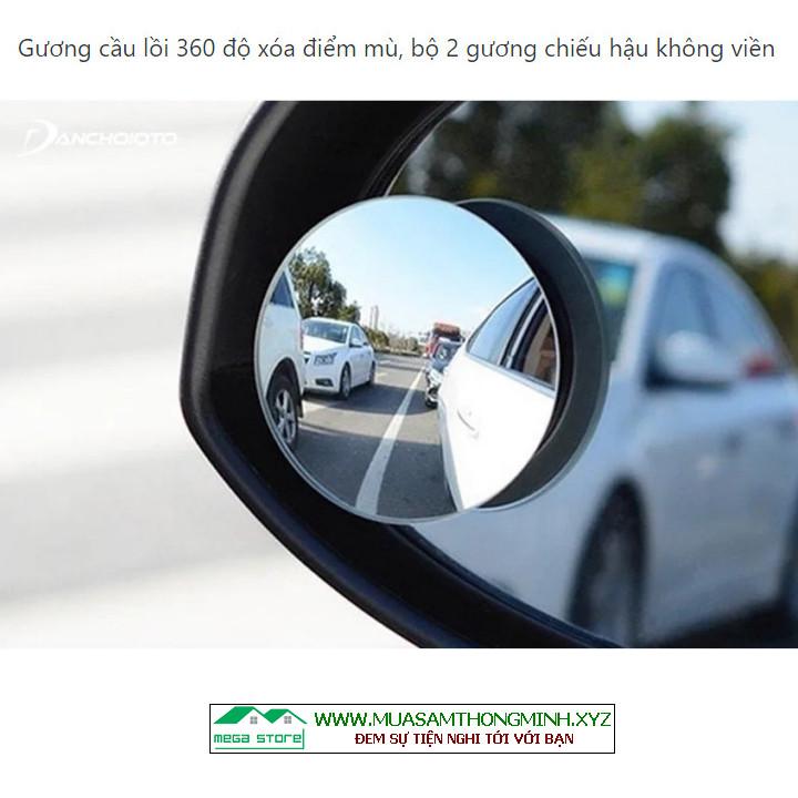 Gương cầu lồi 360 độ xóa điểm mù, bộ 2 gương chiếu hậu không viền