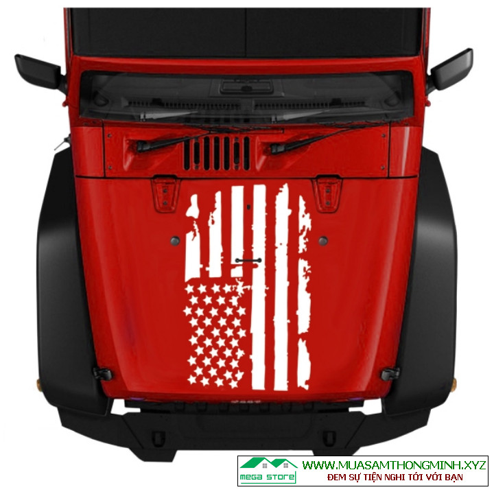 Tem dán lắp capo, quốc kỳ Mỹ decan dán trang trí xe ô tô
