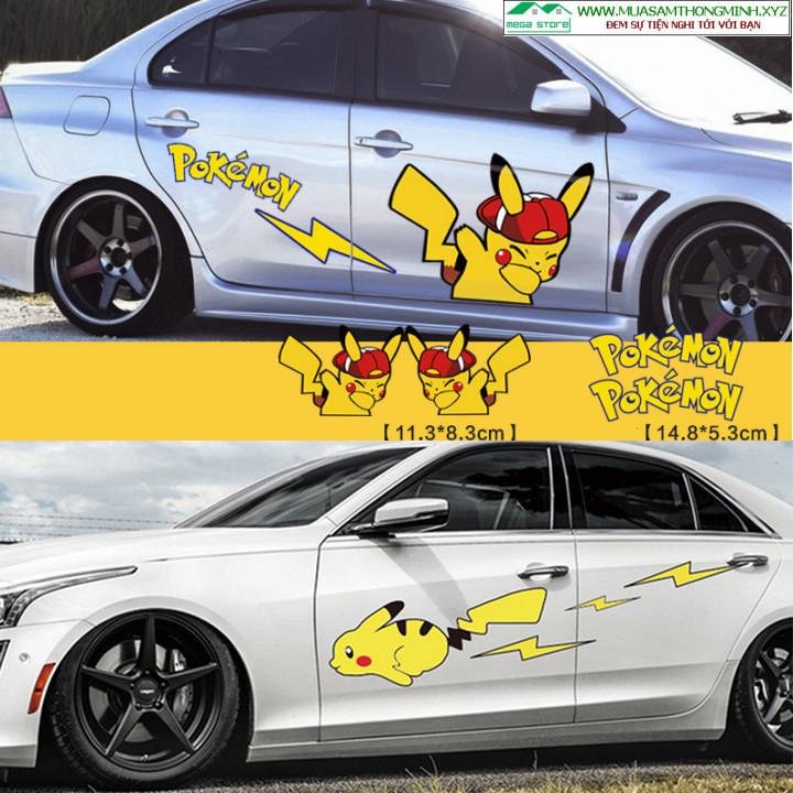 Tem Pikachu quàng khăn đỏ, Pikachu chạy tia chớp dán trang trí sườn xe