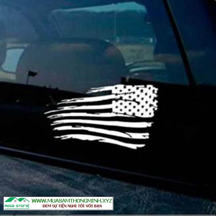 Tem xe quốc kỳ Mỹ phản quang dán xe Jeep, Chevrolet, Ford