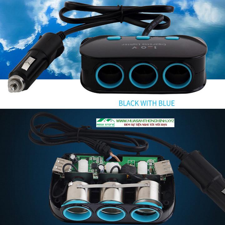 Bộ Chia Tẩu Thuốc Trên Xe Ô Tô Nguồn 12V/24V Công Suất 120W (3 Ổ Cắm Tẩu 2 Ổ Cắm USB)