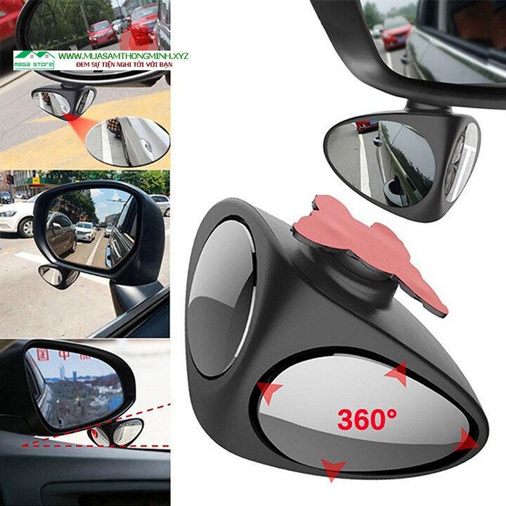 Gương cầu lồi 2 mặt xoay 360 độ, xóa điểm mù, quan sát 2 bánh xe trước sau