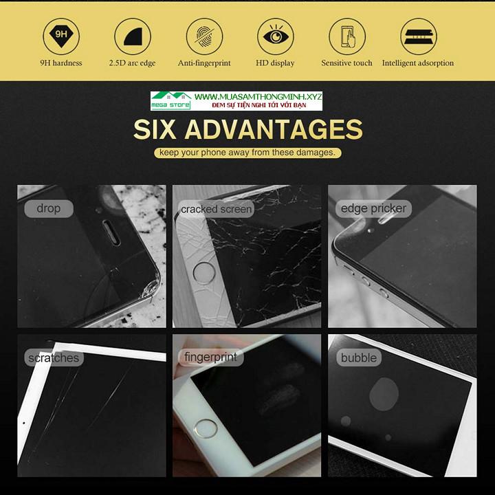 Kính cường lực 3D Oppo A3, A5, A7, A8, A9, A9X, A52, A91, A92S độ cứng 9H