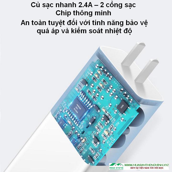 Củ sạc nhanh 2.4A – 2 cổng sạc, tích hợp chíp thông minh an toàn