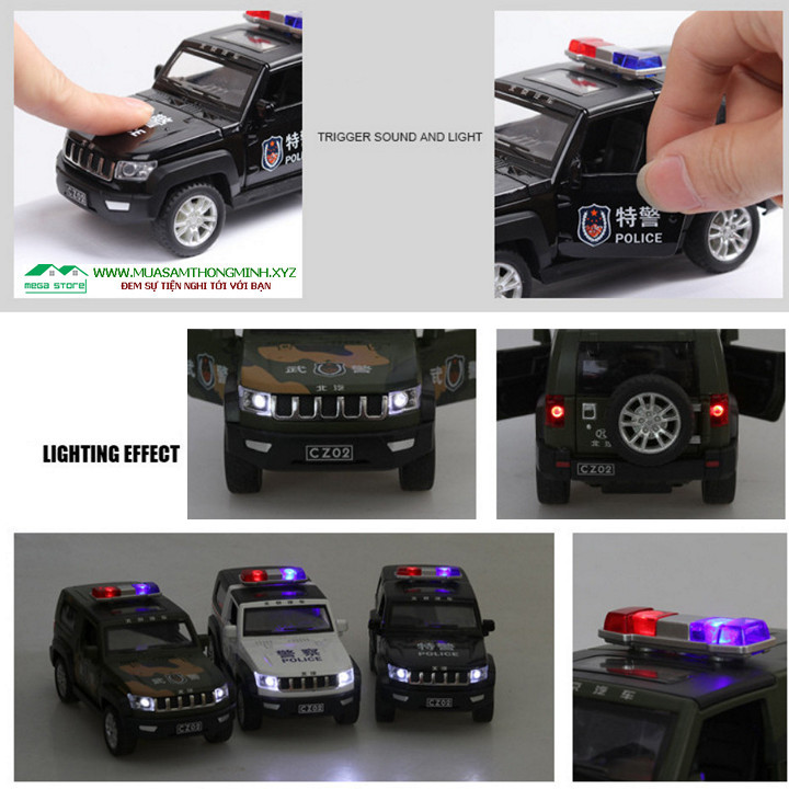 Xe cảnh sát địa hình ALLOY POLICE CAR mô hình bằng Kim Loại – Tỷ Lệ 1:32